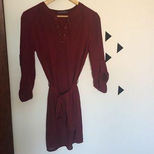 Ladies burgundy sheer dress